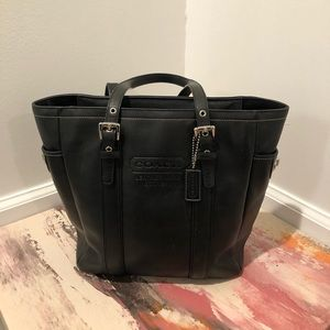 Coach vintage black leather tote